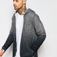 ASOS Oversized Textured Hoodie With Dip Dye & Zips