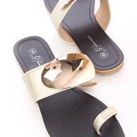 Gold High Polish Accent Toe Ring Sandals Faux Leather