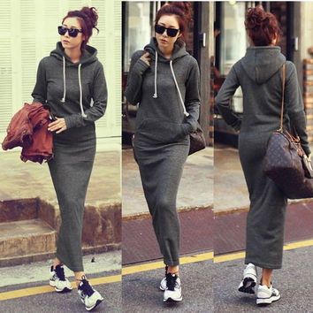 Women Fleece Autumn Winter Slim Pocket Hoodie Bodycon Sweater Long Maxi Dress = 1919960772
