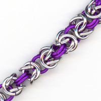 Magenta Purple and Silver Ring Bracelet Byzantine Chainmaille Style