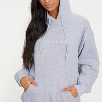 Grey Marl Pretty Little Thing Oversized Hoodie