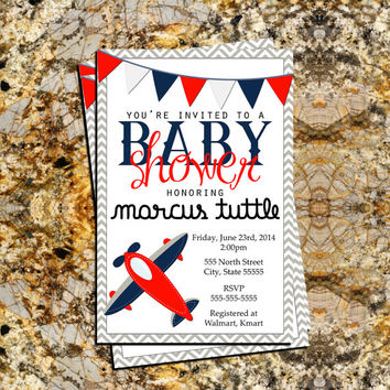 DIGITAL FILE | Airplane, Aviation, Navy, Red, White, Gray, Baby Boy, Baby Shower Invitation, Personalized, 4x6 Digital Download