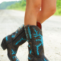 Down The Backroads Boots: Chocolate/Sky Blue