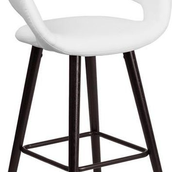 Brynn Series 24'' High Contemporary Vinyl Counter Height Stool with Cappuccino Wood Frame