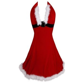 Women Sexy Christmas Festival Red  Corset Dress Uniform Role Playing for Adult Santa Dresses