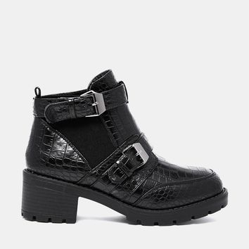 Truffle Chunky Strap Faux Crocodile Ankle Boots