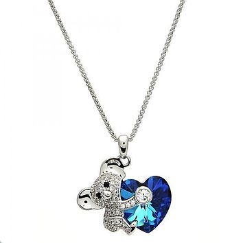 Rhodium Plated Fancy Necklace, Kohala and Heart Design, with Swarovski Crystals and Micro Pave, Rhodium Tone