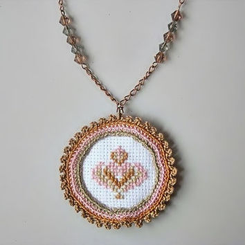 Textile jewelry, hand embroidery, crochet necklace, white, brown, pink, traditional Hungarian cross stitch heart motif, autumn trends