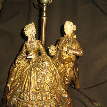 vtg  antique heavy   BRONZE and cast iron  colonial couple Table lamp