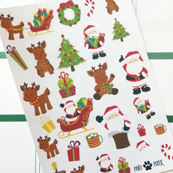 Christmas Reindeer & Santa Planner Stickers Decorative Kit