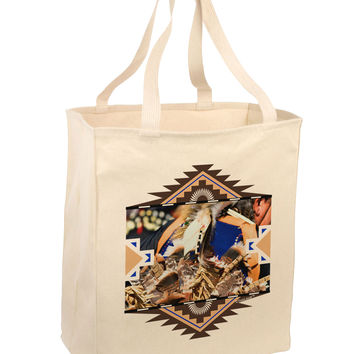 Native American Dancer 1 Large Grocery Tote Bag-Natural
