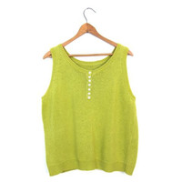 Minimal Knit Shell Top Button Up Henley Sweater Tank Top Lime Grass Green Sleeveless Sweater Preppy Cropped Knit Cotton Tank Vintage Medium