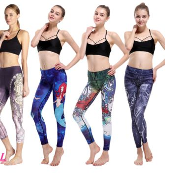 Cartoon Mermaid Yoga Pants