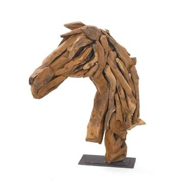 Wood Horse Head On Iron Stand