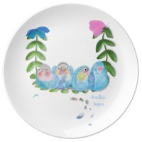 Blue Lovebirds Porcelain Plate