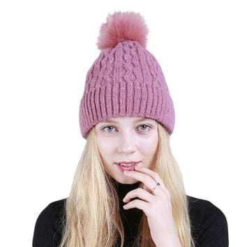 Women Knitted Beanie Big Fluffy Ball Wavy Striped Winter Fashion Ski Hat Cap