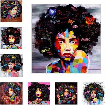 Newest Street Graffiti Art African Girl Printing Oil Painting Wall Art Painting Home Decorative (No Frame)