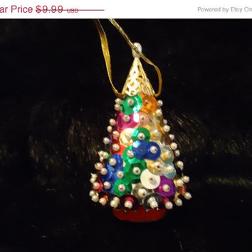 Vintage Beaded Sequin & Faux Pearl Christmas Tree Ornament  Handmade 60s 70s Collectible