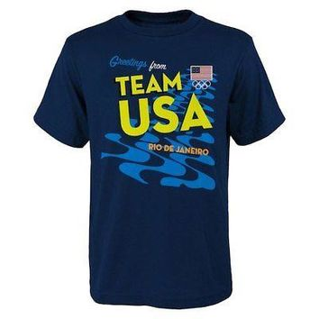 Licensed Sports Team USA Youth 2016 Olympics Stacked T-Shirt - Navy KO_20_2