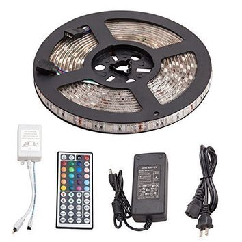 Sunnest 16.4ft 5M Waterproof Flexible strip 300leds Color Changing RGB SMD5050 LED Light Strip Kit RGB 5M +44Key Remote+12V 5A Power Supply