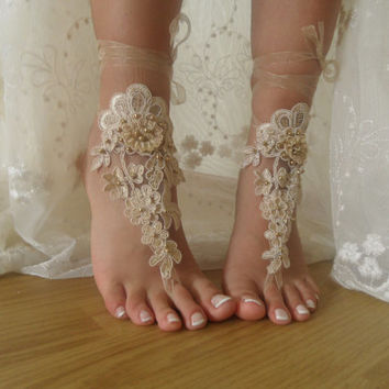Champagne lace Barefoot Sandals, Nude shoes, Foot jewelry,Wedding, Sexy, beach wedding barefoot sandals Anklet