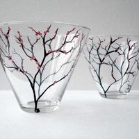 Spring Cherry Blossom Stemless Martini Glasses Set by marywibis