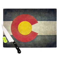 """Bruce Stanfield """"State Flag of Colorado"""" Black Red Cutting Board"""