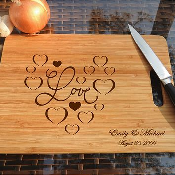ikb500 Personalized Cutting Board Wood wooden wedding gift heart anniversary date