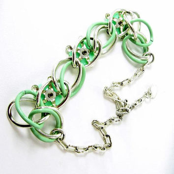 Flowers Necklace Green with Emerald Rhinestones Enamel Links Lucite