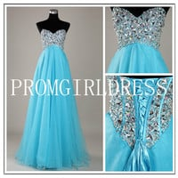 2013 Style A-line Sweetheart Rhinestone Sleeveless Floor-length Chiffon Prom Dresses / Evening Dresses