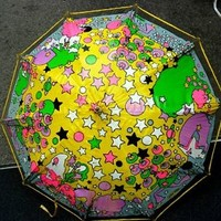 PETER MAX 'Umberella' umbrella Signed RARE vintage hippie flower child peace NR