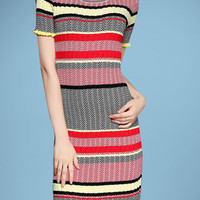 Short Sleeve Striped Knit Mini Bodycon Dress