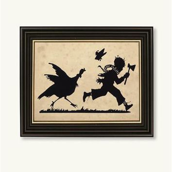 Turkey Chase Silhouette | Victorian Thanksgiving Silhouette