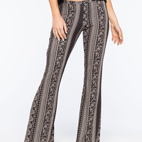 Full Tilt Vertical Neutral Ethnic Womens Flare Pants Black/Khaki  In Sizes