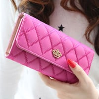 Women wallets Lingge metal crown lady long day clutch wallet  high quality  purse for women