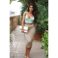 KHAKI JAIDE EXCLUSIVE Midi Pencil Skirt - Jaide Clothing