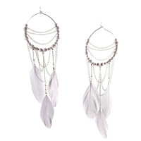 Light Lavender Feather & Bead Earrings