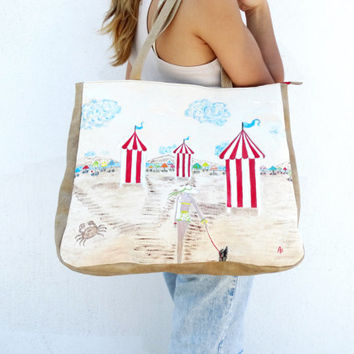 Hand painted bag, Handpainted canvas bag, Oversized bag, Canvas shopping bag