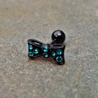 Bow Cartilage Earring 16ga Rhinestone Black Barbell Tragus Helix Fire Opal Cartilage Earring Blue with Rhinestones 16ga Tragus Helix 316L Surgical Stainless Steel
