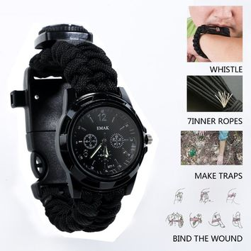 Camping tools for outdoor recreation Survival Watch Compass Thermometer Rescue Rope Paracord Bracelet Equipment Tools kits