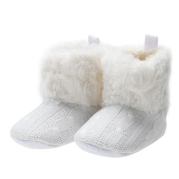 2017 Winter Baby Girls Snow Boots Bowknot Children Shoes Booties Prewalker Crochet Knit Baby Shoes For Girls Boys