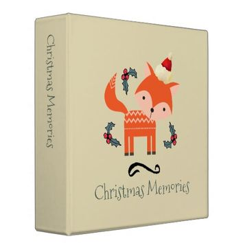 Orange Fox In A Cute Santa Hat Christmas Memories Binder