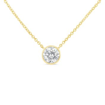 10K Yellow Gold 0.1ct. TDW Bezel-Set Diamond Solitaire Pendant Necklace(H-I,SI2-I1)