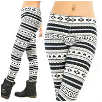 Rising Moon Black and White Leggings