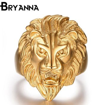 BRYNANA New Retro Punk Ferocious Golden Lion Head Rings for men Bicycle Gothic Knight 316L Stainless Steel Men's Ring R30196