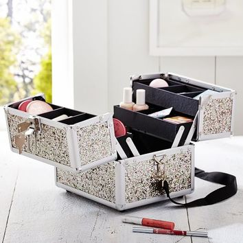 Shine Bright Silver Glitter Beauty Case