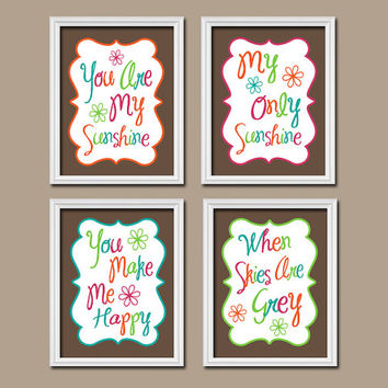 You Are My Sunshine Wall Art Canvas Artwork Colorful Bold Choose Colors Brown Quote NURSERY Song Print  Set of 4 Prints  Decor Child or
