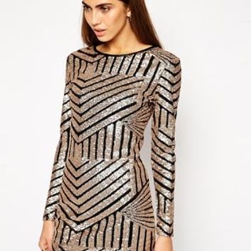 Lashes of London Sequin Long Sleeved Shift Dress