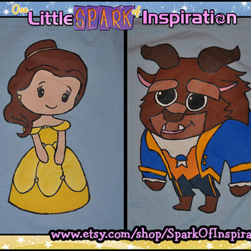 His & Hers Fairytale Cuties - Belle Beauty and the Beast  Couples T-Shirts Commission