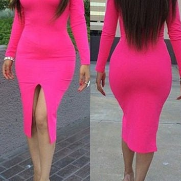 Solid Color Deep V Long Sleeves Front Slit Midi Dress